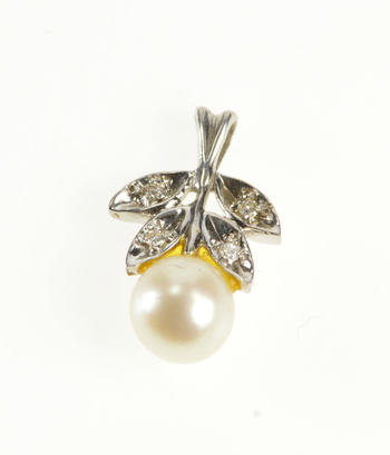 14K Retro Floral Leaf Pearl Diamond Inset White Gold Pendant