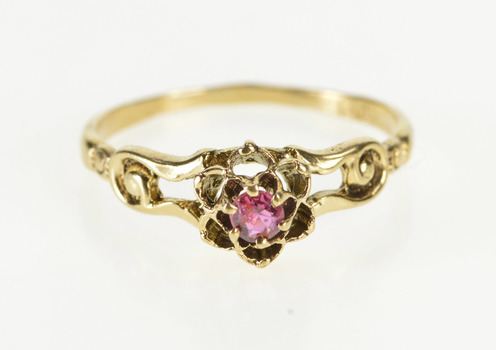 14K Retro Flower Design Sim. Ruby Solitaire Yellow Gold Ring, Size 6.5