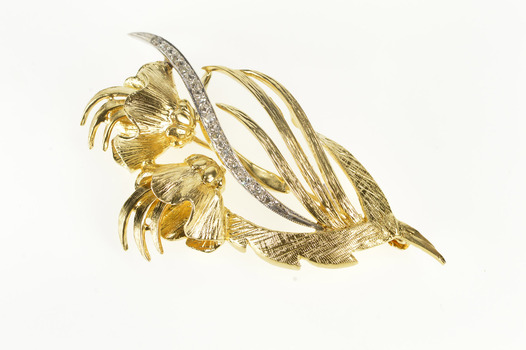 14K Retro Flower Floral Diamond Inset Leaf Fashion Yellow Gold Pin/Brooch