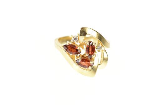 14K Retro Geometric Garnet Diamond Cocktail Yellow Gold Ring, Size 5.5