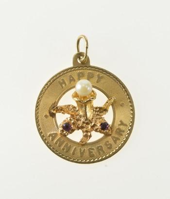 14K Retro Happy Anniversary Pearl Flower Ornate Yellow Gold Charm/Pendant