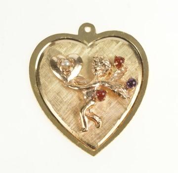 14K Retro Heart Cupid Carnelian Amethyst Pearl Yellow Gold Charm/Pendant