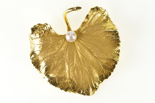 14K Retro Huge Pearl Satin Finish Leaf Statement Yellow Gold Pin/Brooch