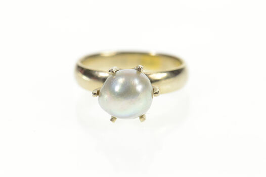 14K Retro Light Blue Pearl Prong Statement White Gold Ring, Size 6