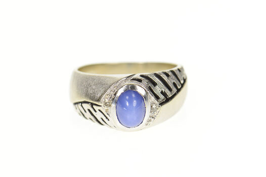 14K Retro Lindy Star Sapphire Diamond Accent Men's White Gold Ring, Size 9