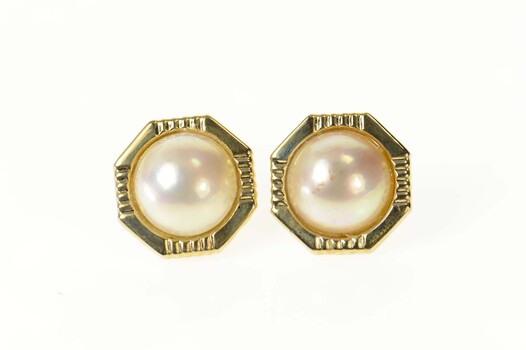 14K Retro Mabe Pearl Squared French Clip Yellow Gold Earrings