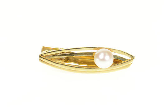 14K Retro Mikimoto Pearl Inset Layered Oval Clip Yellow Gold Tie Bar