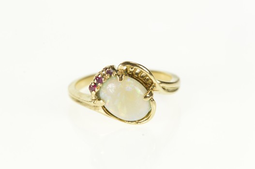14K Retro Natural Opal Ruby Accent Bypass Statement Yellow Gold Ring, Size 6