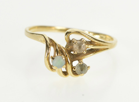 14K Retro Opal Cubic Zirconia Accent Curvy Swirl Yellow Gold Ring, Size 7.25
