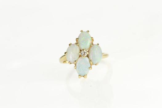 14K Retro Ornate Natural Opal Diamond Cluster Yellow Gold Ring, Size 5