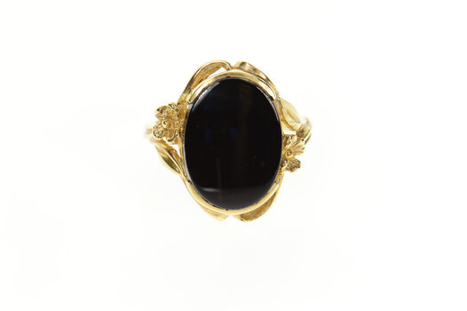 14K Retro Ornate Oval Black Onyx Flower Accent Yellow Gold Ring, Size 7