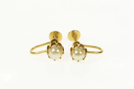 14K Retro Ornate Pearl Classic Screw Back Yellow Gold Earrings