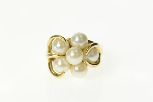 14K Retro Ornate Pearl Cluster Statement Cocktail Yellow Gold Ring, Size 7.5