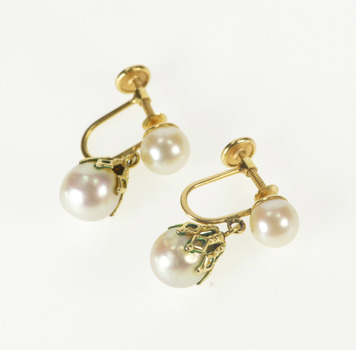 14K Retro Ornate Pearl Dangle Screw Back Fashion Yellow Gold Earrings