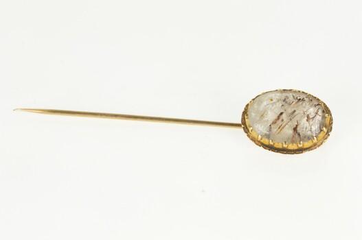 14K Retro Oval Rutilated Quartz Cabochon Yellow Gold Stick Pin