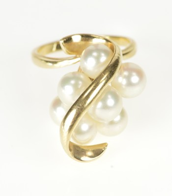 14K Retro Pearl Cluster Wave Overlay Cocktail Yellow Gold Ring, Size 6