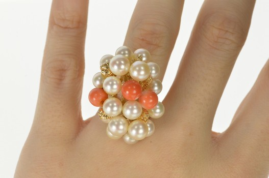 14K Retro Pearl Coral Cocktail Fashion Statement Yellow Gold Ring, Size 6