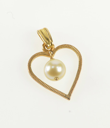 14K Retro Pearl Dangle Inset Grooved Pattern Heart Yellow Gold Pendant