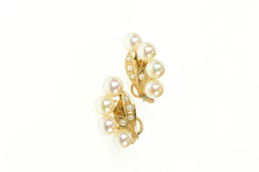 14K Retro Pearl Floral Classic Clip Back Yellow Gold Earrings