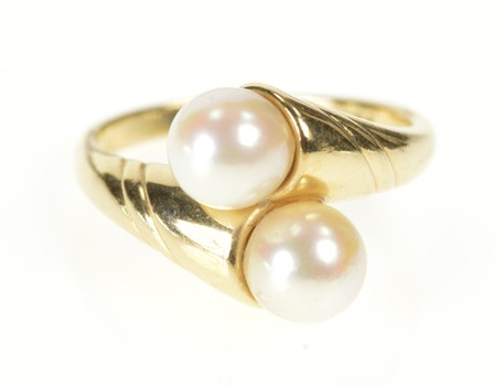 14K Retro Pearl Grooved Bypass Statement Yellow Gold Ring, Size 6