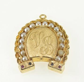 14K Retro Pearl Horseshoe VB Initial Locket Yellow Gold Charm/Pendant