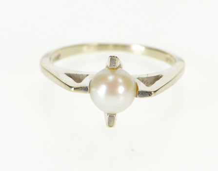 14K Retro Pearl Inset Cross Prong Design 1960's White Gold Ring, Size 6.5
