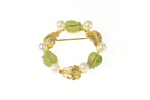 14K Retro Pearl Jade Carved Leaf Circle Yellow Gold Pin/Brooch