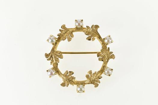 14K Retro Pearl Leaf Wreath Ornate Statement Yellow Gold Pin/Brooch