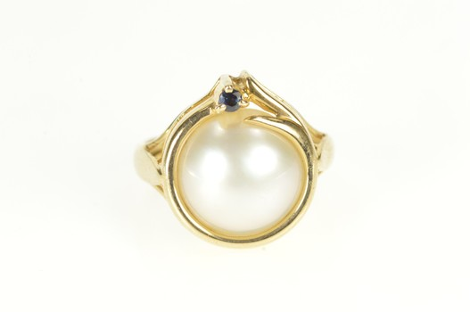 14K Retro Pearl Sapphire Accent Swirl Cocktail Yellow Gold Ring, Size 6