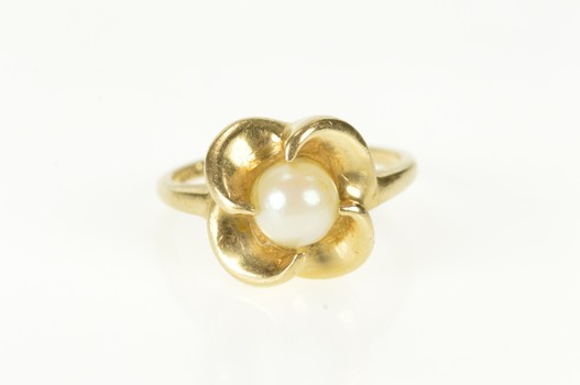 14K Retro Pearl Swirl Cocktail Statement Yellow Gold Ring, Size 6.25