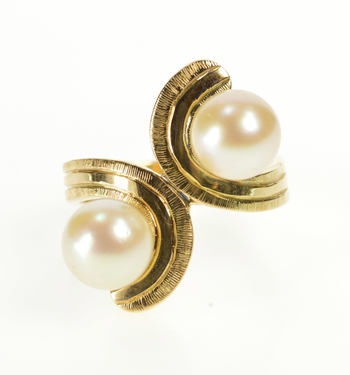 14K Retro Pearl Wave Swirl Wrap Bypass Fashion Yellow Gold Ring, Size 7.25