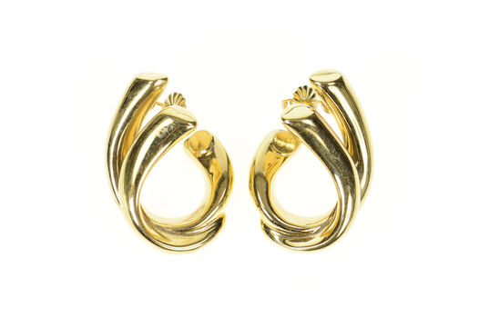 14K Retro Puffy Curved Loop Drop Statement Yellow Gold Earrings