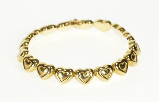"14K Retro Puffy Heart Link Sweetheart Fashion Yellow Gold Bracelet 7.25"""