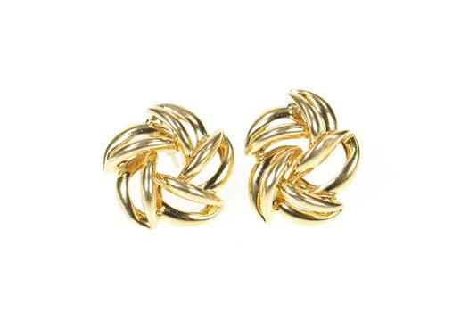 14K Retro Puffy Swirl Flower Spiral Statement Stud Yellow Gold Earrings