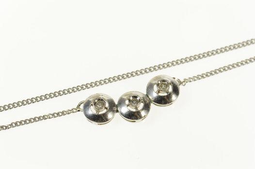 "14K Retro Round Diamond Inset Chain Link White Gold Necklace 16.5"""