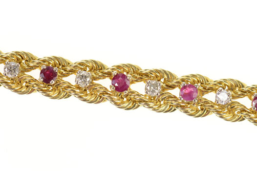 14K Retro Ruby Diamond Rope Woven Chain Yellow Gold Bracelet 6""
