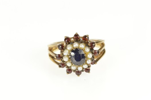 14K Retro Sapphire Garnet Seed Pearl Halo Cocktail Yellow Gold Ring, Size 5.5