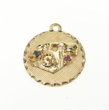 14K Retro Sapphire Ruby Rotary Dial Telephone Yellow Gold Charm/Pendant