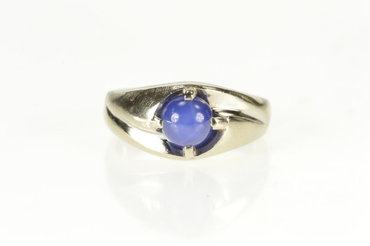 14K Retro Syn. Blue Star Sapphire Men's Statement White Gold Ring, Size 9.5