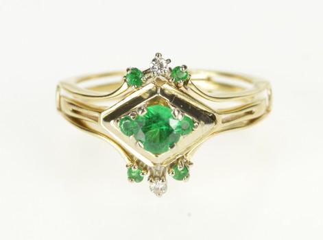 14K Retro Syn. Emerald Diamond Bridal Engagement Yellow Gold Ring, Size 9