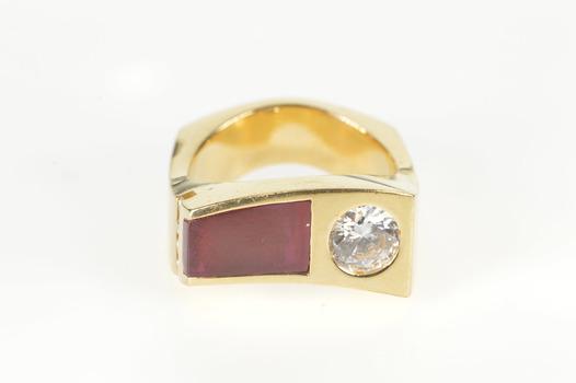 14K Retro Syn. Ruby CZ Wavy Squared Men's Fashion Yellow Gold Ring, Size 8.75