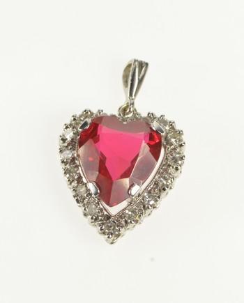 14K Retro Syn. Ruby Diamond Halo Heart Love White Gold Pendant