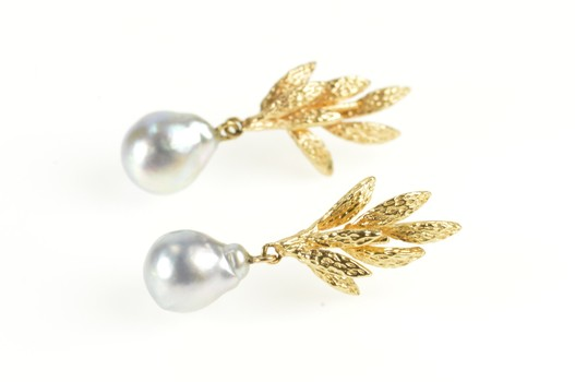 14K Retro Textured Leaf Cluster Pale Blue Pearl Yellow Gold Earrings