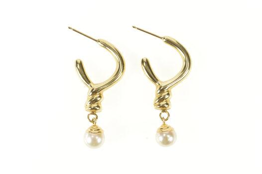 14K Retro Twist Semi Hoop Pearl Drop Dangle Yellow Gold Earrings