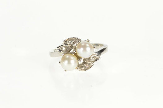 14K Retro Two Pearl Diamond Petal Floral Bypass White Gold Ring, Size 6