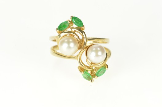14K Retro Two Pearl Floral Emerald Statement Yellow Gold Ring, Size 5.75