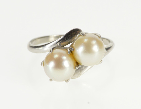 14K Retro Two Pearl Inset Freeform Bypass White Gold Ring, Size 8
