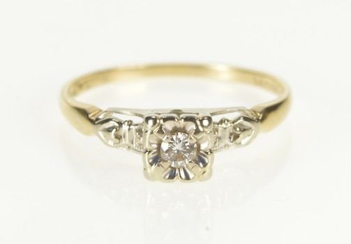 14K Retro Two Tone Diamond Floral Promise Yellow Gold Ring, Size 6.25