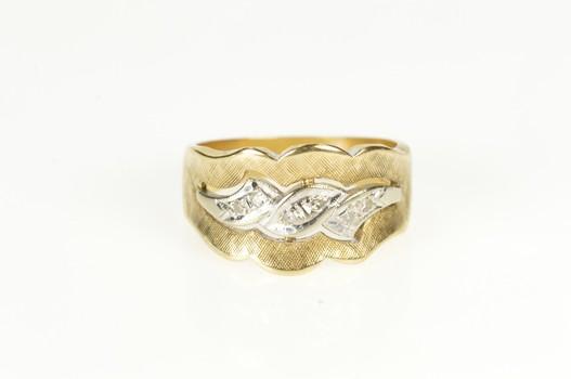 14K Retro Two Tone Diamond Scalloped Wave Band Yellow Gold Ring, Size 6.25
