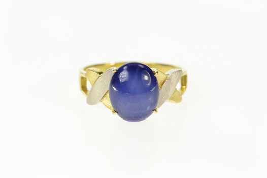 14K Retro Two Tone Men's Syn. Blue Star Sapphire Yellow Gold Ring, Size 7.25